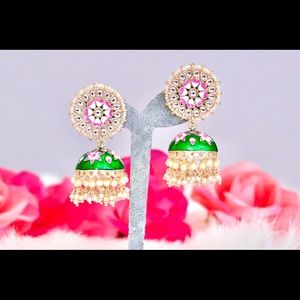 Indian Meenakari Kundan Stone & Pearl Earrings
